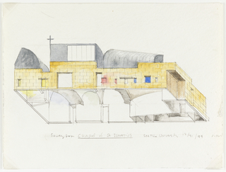 Drawing, Chapel of St. Ignatius, Seattle University: Tilted View from Below of Interior Rooms and Exterior Facades