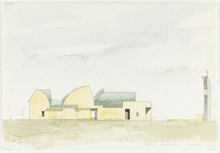 Drawing, Exterior View of the Chapel of St. Ignatius, Seattle University:  West Elevation