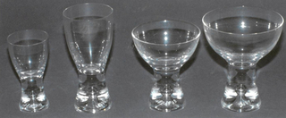 Clear glass with pronounced central air bubble in solid glass stem.  Sherry