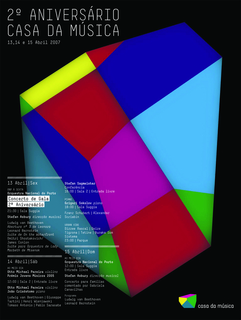 Disk contains five files with images of posters created for identity (1 .eps, 4 .tif), as well as four .mov video files, and one .txt file describing project. First image: On a black ground, a colorful multi-faceted shape with white text: 2o ANIVERSARIO / CASA DA MUSICA / 13, 14 e 15 Abril 2007. Below, in white schedule of concerts. Second image: Drawing of various objects: radio, broken heart, a talking cat, on a green painted ground, some writing in script. Below on a fuchsia rectangle: Ao Meio Dia / patrocinio GALP Maio / Banda Sinfonica da GNR Dom / 12:00.  Third image: Photograph of a young woman, hair pulled back, with flesh colored shapes on her neck. Below on a white box: Clubbing [schedule details]. Fourth image: On a green-yellow ground, a multi-faceted cardboard shape with white chalk writing. Upper left, in white text: SERVICO / EDUCATIVO / Patrocinio Superbock. Schedule in lower left. Fifth image: Vertical bands in blues, greens and yellows with several multi-faceted shapes in grey and white; text in black: praca / Patrocinio BPI e WORTEN / Concerto de S. Joao [schedule of events].