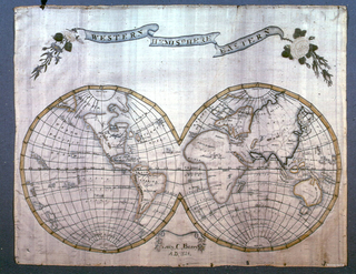 An embroidered map of the world shown as two tangent hemispheres. A banner floats above with Eastern Hemisphere Western and yellow roses. With inscription center bottom.