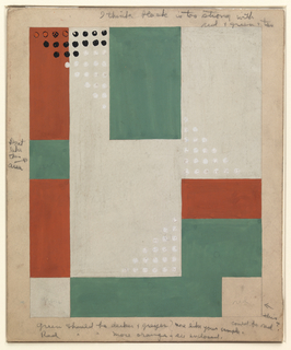 Design for hooked rug with geometric pattern. Overall rectangular format with areas of orange, green, and white arranged in asymmetrical composition. At three points, triangular groupings of small white dots abut rectilinear forms (above left, designer experimented with black dots before changing to white). Graphite inscriptions in margins provide additional details about design, specifically its color scheme.