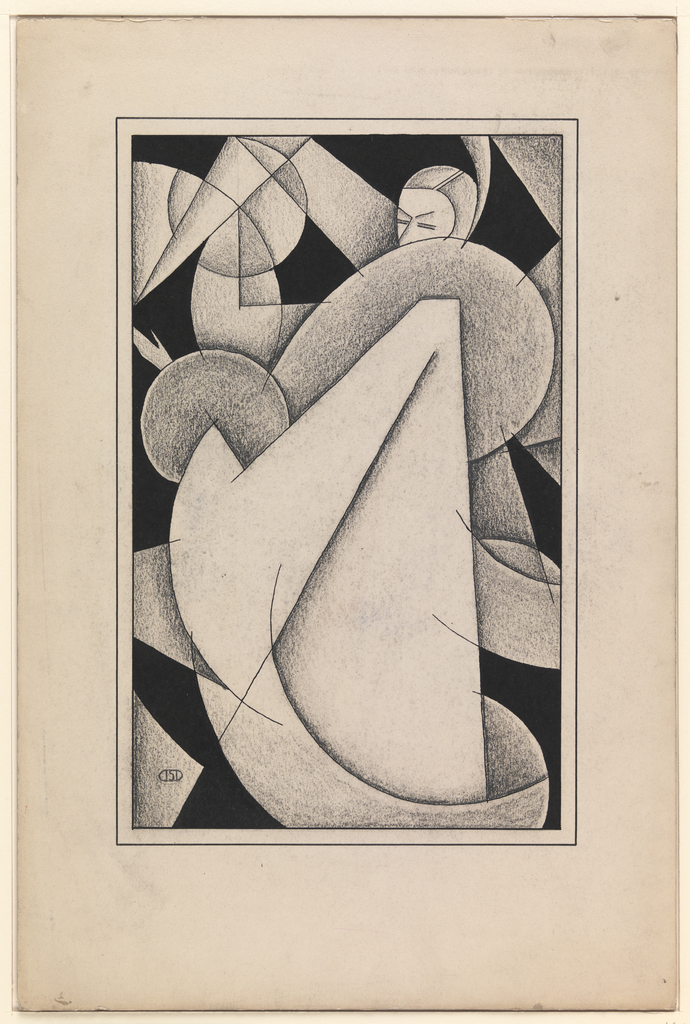 Cubist design with woman at right wearing a full coat with large fur collar and cuffs. Cubist shapes in the background.
