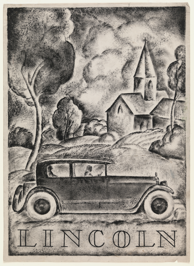 Design for advertisement for Lincoln. Vertical format shows Lincoln L Series Touring above brand imprint with open, serif lettering. Passenger sits in rear and is driven by chauffeur; in background, rolling hills, trees, and a church with steeple rise up, creating sense of rural atmosphere. Rendered in mottled black ink with painterly lines and soft shadows and feathery fields of black and gray.