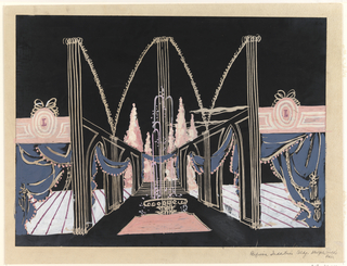 Design for the Perfume Industries building for the New York 1939 World's fair, in which a hallway flanked by an arcade receedes into the distance. Purple drapes ornament the arcade.