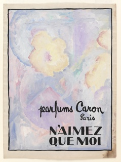 Drawing, Design for Advertisement: N'Aimez Que Moi by Parfums Caron, Paris