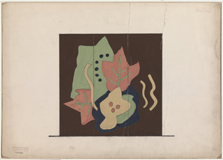 Design for a folding screen with overlapping abstract leaves.