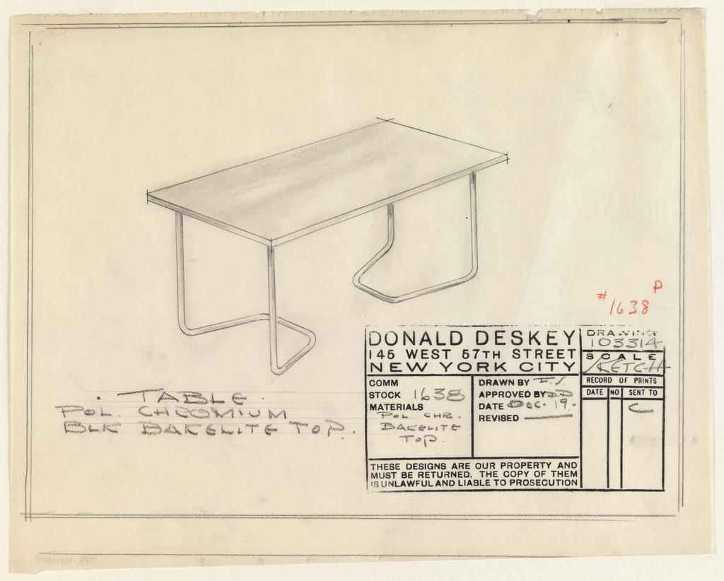 Design for table with polished chromium legs and black Bakelite top. At center, object seen in perspective: planar tabletop supported by two inward-facing bracket-like chromium legs. Materials inscribed in graphite, lower left, and miscellaneous drafting information in architect's stamp at lower right. Inscribed with Deskey No. 1638.