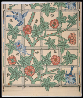 "A continuous vine intertwines with leaves and flowers on a trellis. Small butterflies are in the background. All designed by William Morris. There are blue birds interspersed. These were designed by Philip Webb. ""Morris & Co."" is printed on the selvage. This is the first wallpaper designed by Morris, but the third actually printed. Printed in green, blue, red and gray on cream-colored ground."