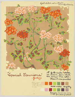"""Sketch of wallpaper showing colorful geraniums in light pink and orange on a tan background. Margins filled with notations; upper right: first sketch submitted to / manufacturer; lower margin: """"Spanish Geraniums"""" / - Justema / '51; 1st full-scale sketch / in casein, from which / the design was sold… / Then it was painted. Below, swatches of different colors."""