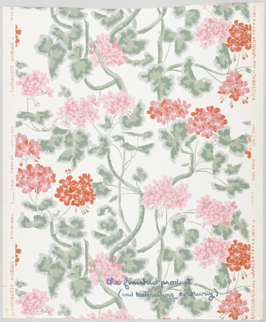 Brightly colored pink and red geraniums growing on vining stems. Printed on white ground.