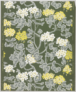 All-over pattern of yellow and white geraniums on vining plants. Printed on black ground.