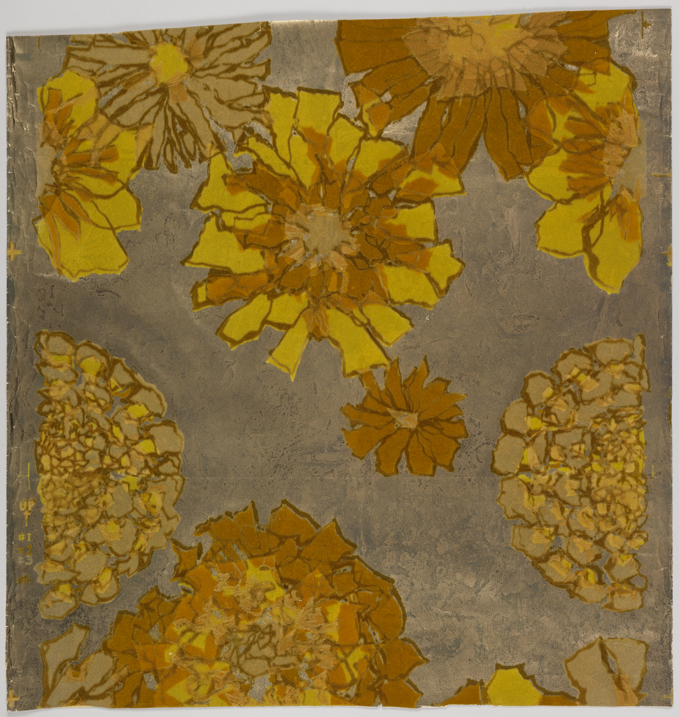 Flowers printed in beige and blue on dark brown branches, over silver foil ground.