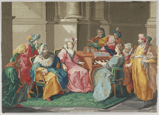 Horizontal rectangle, on two joined sheets of paper, printed in brilliant colors. Architectural background of plinths and lower portions of columns, against which a quartet plays music to which a woman, and three men in Oriental costume, listen.