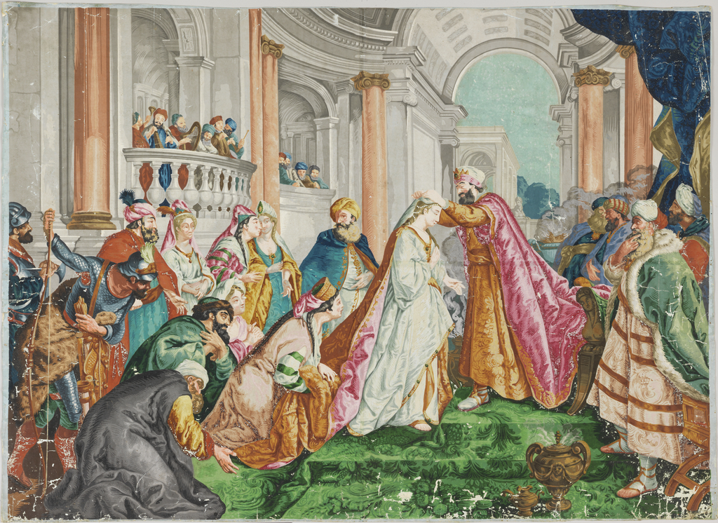 Horizontal rectangle, printed in brilliant colors on two joined sheets of paper. A coronation scene is taking place in a beautiful outdoor architectural setting.