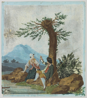 Vertical rectangle for overdoor or fireboard. Young man with fish on a line, and young woman, against background. Printed in colors on a blue ground.