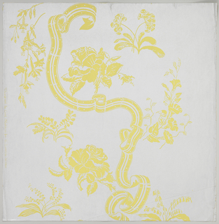 Less than one repeat of a design composed of serpentine striped and dotted ribbon, with scattered sprays of rose, lily of the valley, morning glory, primula and other flowers, printed in chartreuse on dulled silver ground.
