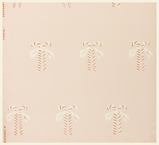 Children's wallpaper, with one and one-half repeats of a design composed of pairs of candy canes tied with ribbon. Printed in red and pale pink on pink ground.