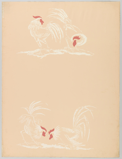 Less than one repeat of design composed of two pairs of fighting cocks or roosters. Printed in red and pale pink on pink ground.