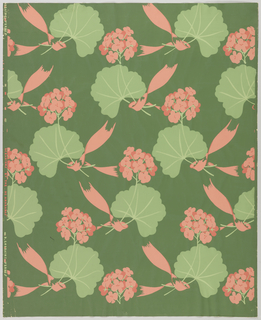 Slightly more than one repeat of design composed of scattered geranium flowers, and geranium leaves enwrapped with pink ribbons, printed in pinks and greens on green ground.