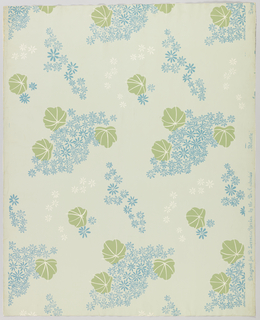 Slightly more than one repeat of design composed of clustered star-shaped floral forms in outline, accompanied by flat leaf-forms overprinted with white veining, printed in blue, green and white on gray ground.