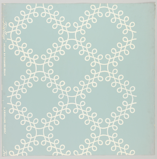 Slightly more than two repeats of design composed of interlaced scrolls set in diagonally-placed squares, printed in white on blue ground.