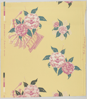 """At left two large camellias, lorgnette opera glasses, an open fan and the libretto with """"Bijou Opera Gala Fete"""" printed on cover. At right side a bouquet of two camellias with paper lace border. Below on same side, two large camellias with a pin to fasten some protruding. Printed on margin: """"'Gala Performance' Renverne Handprint for Artcraft, New York."""" Printed in rose, green and white on gold field."""