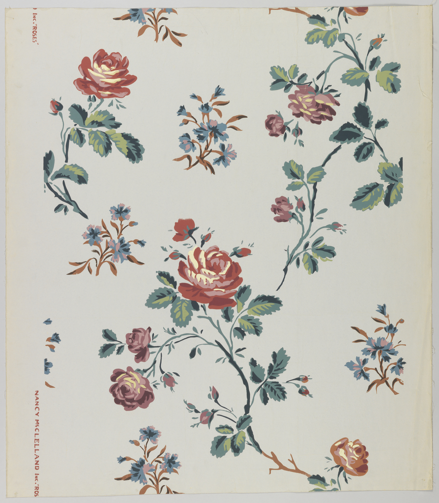 """A large scale asymmetrical design of spray of red and mauve roses strewn over the field. Used in octagonal Reception Room in the restoration of the Jumel Mansion in New York City. Printed on margin: """"Nancy McClelland Inc. Roses""""."""