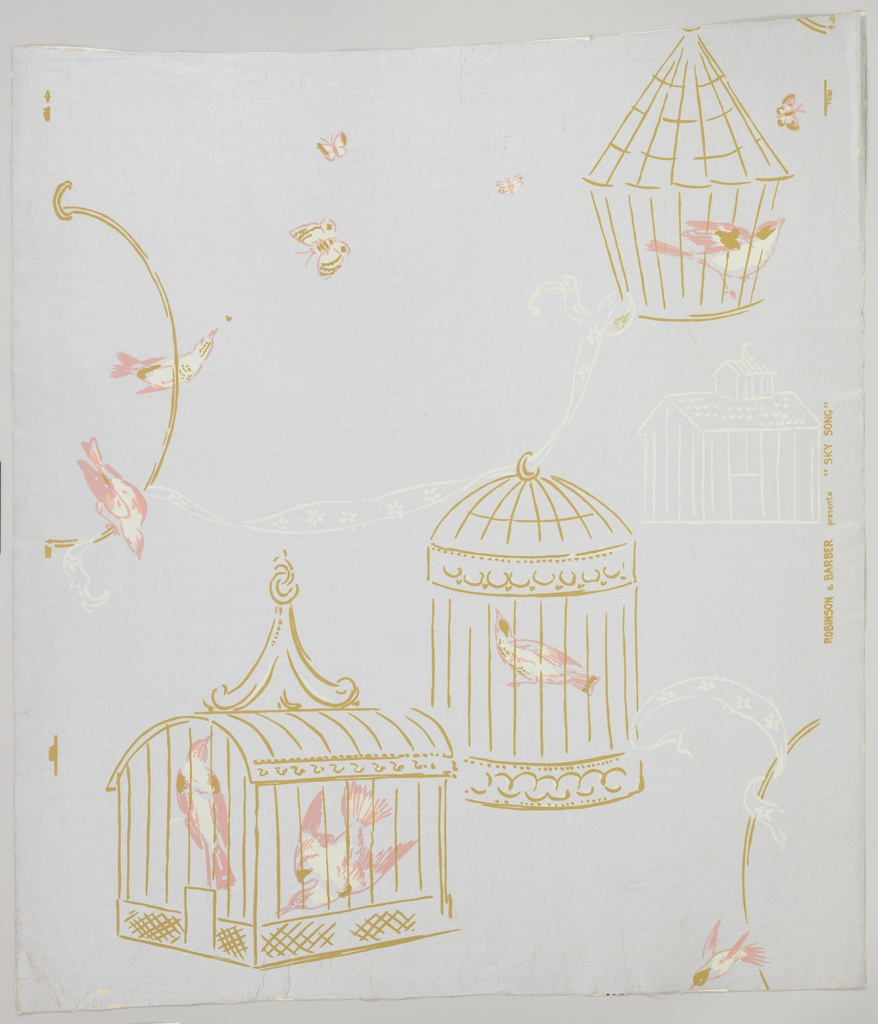 Random arrangement bird cages and birds with ribbons and butterflies. Bird cages are printed in gold, one of them in white. Birds, butterflies are pink, gold and white on a silver ground.