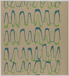 Horizontal rows of wavy lines in dark and light-green on a light-brown ground. Gives the appearance of a graph or fever chart. Printed in blue and green on off-white ground.