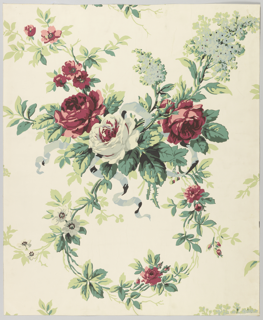 Over-scaled red and white roses and gray-blue lilacs alternate with a tendril swag. The bouquet of roses is caught up with gray-blue ribbon. Match is straight across. 25 screens used on white ground.