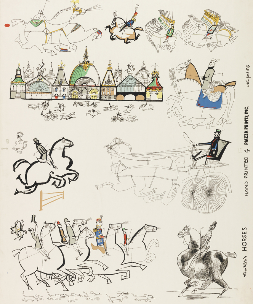 Fantastic drawings of horses in random arrangement. Scale not uniform. Circus horse, carriage horses and cavalry horses are included. Color freely applied within black outlines, on white ground.