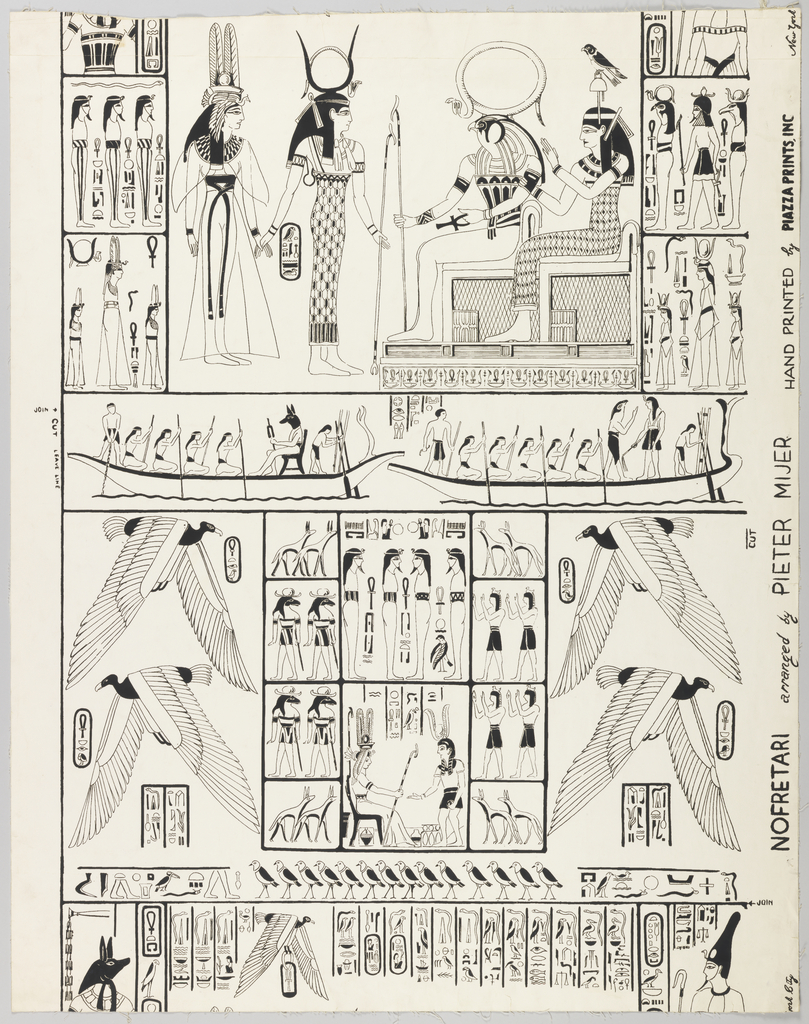 Antique Egyptian symbols and drawings arranged at random; printed in black on white ground. Drop Match.