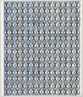 A network of black lines forming modified diamond shapes overlying a network of blue lines arranged in the same fashion. The diamonds are arranged in horizontal and vertical rows and vertically the repeat occurs every seventh diamond, on white ground.