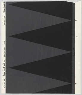 """A series of black triangles like pennants which rest along the right hand margin of the paper and """"point"""" to the left. The spaces between form dark gray pennants which point to the right, printed on white ground."""