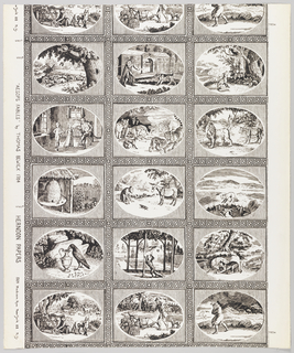 The width is divided into three horizontal rectangles by a Greek key band. Each rectangle contains an oval-shaped medallion illustrating one of Aesop's fables. The scenes shown are 18th century in costume and background. Vertically, the repeat occurs after five different sets of three. Children's wallpaper.