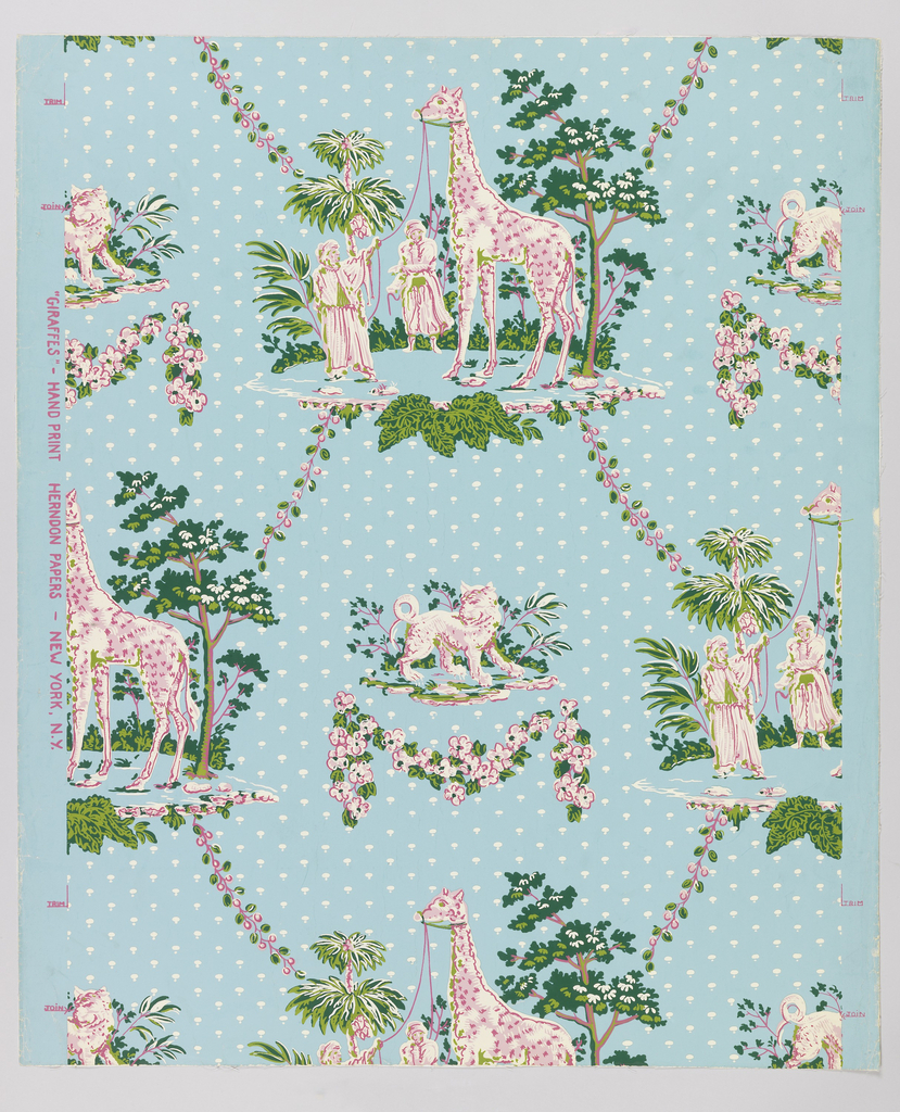 Similar to a bandbox paper of the 1830s. Medallion has large giraffe with two oriental figures pulling at its bridle reins. This alternates vertically with small medallion of a lion-like cat with forked tail (probably mythological). Repeating background pattern of small white dots of two sizes. Printed on blue ground.