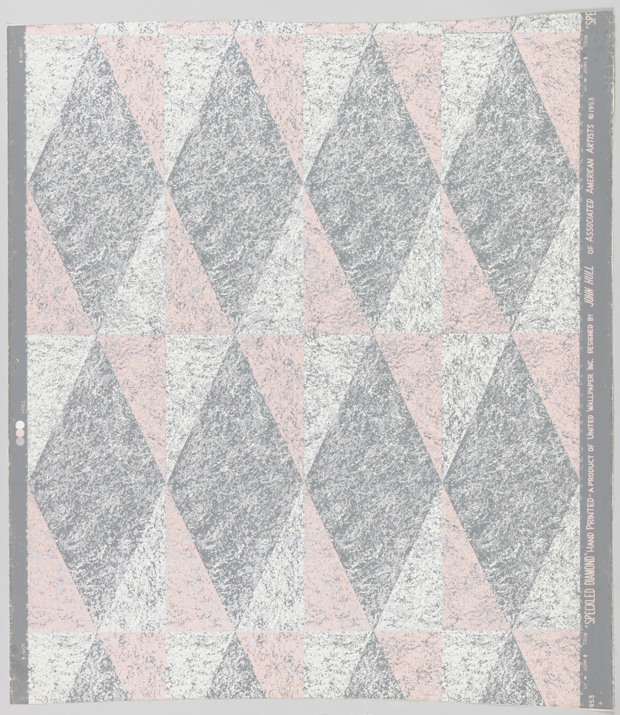 A horizontal row of four adjoining, gray vertical diamonds. These diamonds also touch vertically to make a vertical series. The spaces between, also diamond-shaped, are divided into four right triangles, printed alternately pink and cream. The gray ground shows through in patches throughout, giving a spattered effect.