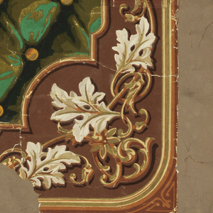 Printed to simulate deeply tufted green fabric with diagonally running yellow buttons. Portions of brown flock border attached with serpentine acanthus leaf, details printed in gold.