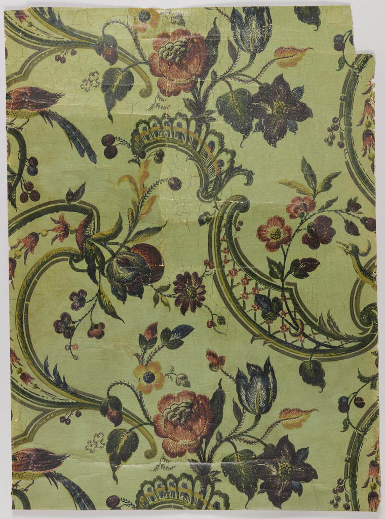 Large-scale floral pattern with lattice scrolls, printed in multicolors on green satin ground. Rococo revival style design.