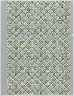 "a) All-over bamboo trellis design in gray and white. Pale green shading against blue ground; b) Same, described in pencil on back of sample as ""strike off""."