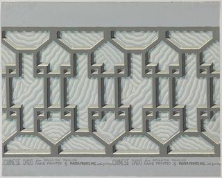 Simulates wooden Chinese fretwork railing. Three dimensional effect achieved by self tones and shadows against wave background. Gray, black and white fretwork against pale blue wave background.