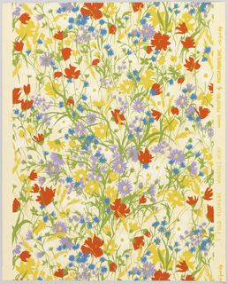 All-over pattern of flowers on stems, printed in red, lavender, yellow and blue on white ground.