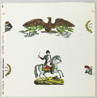Large medallion of Napoleon on horseback alternates vertically with large medallion of brown eagle grasping branch, the leaves of which are labelled with the names of Napoleon's great battles. The match is to be dropped at the sides, and where the join occurs half a laurel wreath or half a trophy of helmets is shown, printed on white ground sown with small blue polka dots.