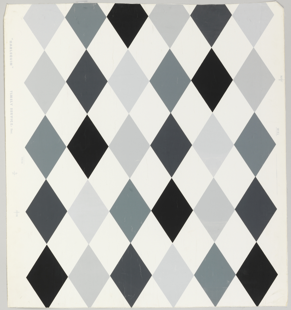 Harlequin or diamond trellis pattern. Horizontal rows of six vertical diamonds in five variations of gray and in black. The diamonds also adjoin vertically. The intervening spaces, also diamond shaped, are white, the ground color.