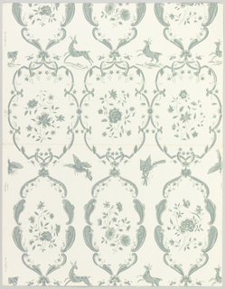 "Alternating rows of diapered and plain C-scrolls enclosing floral sprigs. Between these elements are birds holding insects, and prancing deer. Greenish-gray on white ground. Stamped: ""Louis W. Bowen, Inc."" Number JH 650A on back."