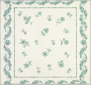 "Random pattern of sprigs of flowers enclosed in rectangle. The whole is enclosed by a silver rectangle entwined with foliage. Printed in blue-green on white. On margin: ""Sidewall - Directoire"", Louis W. Bowen, Inc."