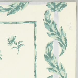 """Random pattern of sprigs of flowers enclosed in rectangle. The whole is enclosed by a silver rectangle entwined with foliage. Printed in blue-green on white. On margin: """"Sidewall - Directoire"""", Louis W. Bowen, Inc."""