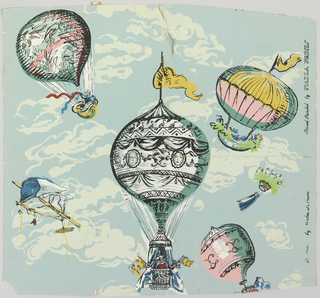 On a light blue, cloud-covered ground are four inflated hot-air balloons at various heights, carrying soldiers, flags, and flowers. Printed in red, pink, yellow, blue, green and white.