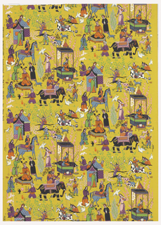 Against a mustard yellow ground are printed figures in Persian costumes, animals, fowl, blossoms and foliage in an all-over design based on the motifs and conventions of Persian miniature painting.  Straight repeat, straight match.